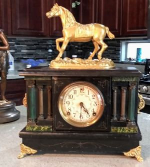 1850-1890 sessions 8 day clock with gilded horse for Sale in Surprise, AZ
