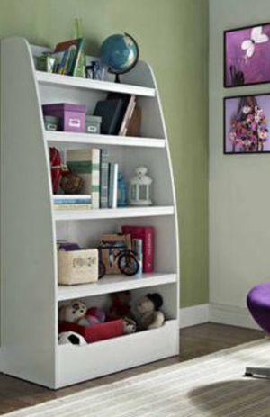New!! Bookcase, kids 4 shelf bookcase, bookshelves, organizer, living room furniture, storage unit , white for Sale in Phoenix, AZ