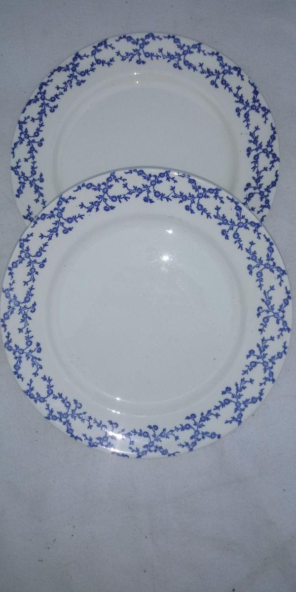 White w/blue flowered dinner plates