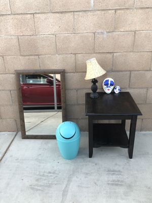 Mirror, Table, Lamp, Masks, & Trash Can for Sale in Fontana, CA
