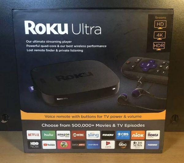 New Roku Ultra Includes JBL Headphones Streams HD,4K,HDR Voice Remote