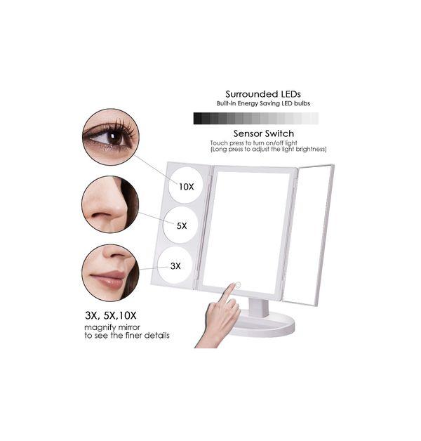 MAKARTT XLarge Lighted Big Makeup Mirror 3X/5X/10X Magnifying Trifold Vanity Mirror