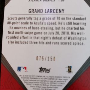 Topps 150th Anniversity Gold Ronald Acuna Jr. Insert Numbered 75/150 for Sale in Boonville, IN