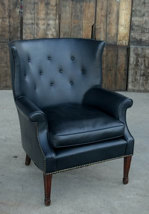 Vintage Black Leather - Mid Century Modern Accent Chair for Sale in Temecula, CA