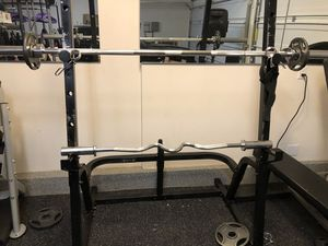 Olympic bar & Ez curl bar w/ weights Squat rack for Sale in Ontario, CA