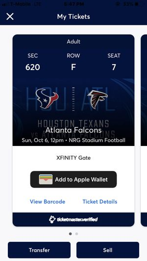 Texans vs Falcons October 6th for Sale in Houston, TX