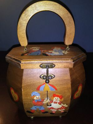"""Custom Heptagon Raggedy Ann and Andy Clutch, 5"""" x 5"""", Wooden for Sale in Raleigh, NC"""