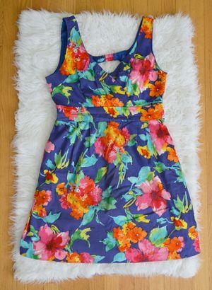 Women Floral Kobalt Blue Dress A-line Midi size M for Sale in Elmwood Park, IL