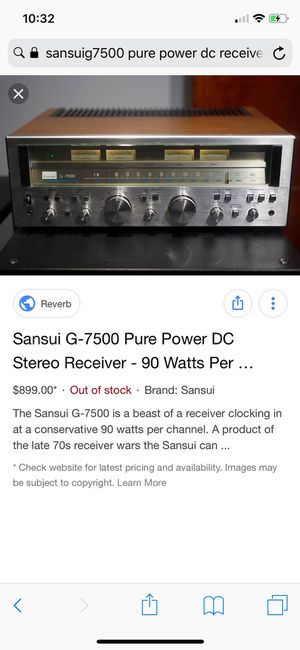Sansui G-7500 pure power dc stereo receiver in excellent shape asking $580 for Sale in San Pedro, CA