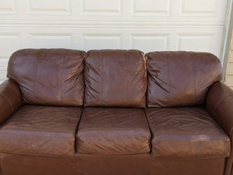 Dark Brown Leather Couch Sofa Free Delivery for Sale in Denver,  CO