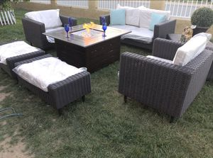 Patio furniture set with fire pit sunbrella for Sale in Norco, CA