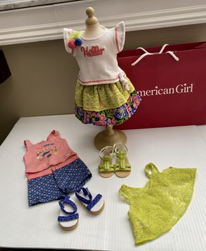 American Girl Doll Truly Me Mix & Match Lace Tropical Print 5pc c set & Sandals for Sale in Miami, FL