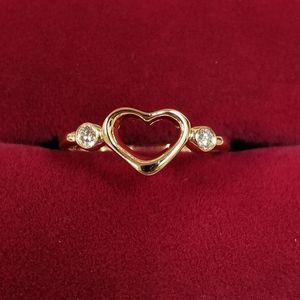 Vintage Tiffany & Co Elsa Peretti 18k Gold Open Heart Diamond Ring for Sale in Winchester, CA