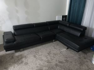 New Black Bonded Leather Modern Sofa Sectional Couch w/ Adjustable Headrest for Sale in Anaheim, CA
