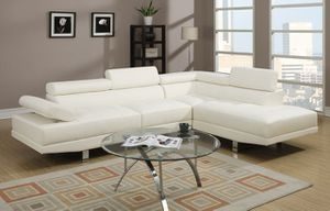 New! White Leather Contemporary Sectional for Sale in Columbia, MD
