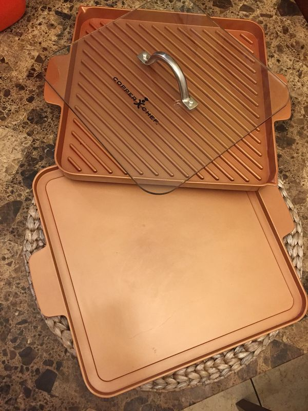 Copper chef induction cooktop with pans and press