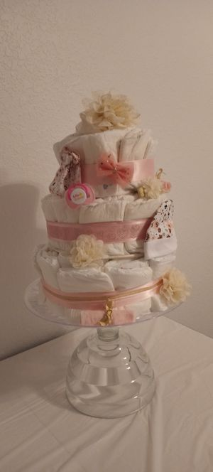 Pink and Gold Diaper Cake for Sale in Tampa, FL