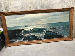 Vintage ocean painting with wood frame for Sale in Seattle, WA
