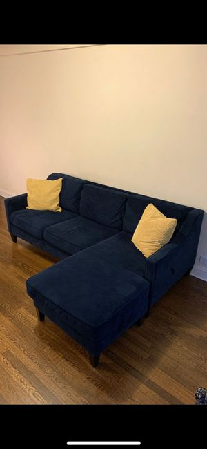 West Elm Blue Suede Sofa for Sale in Brooklyn, NY