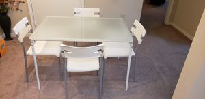 White glass top IKEA dinning table with chair- 5pc for Sale in Montgomery, OH
