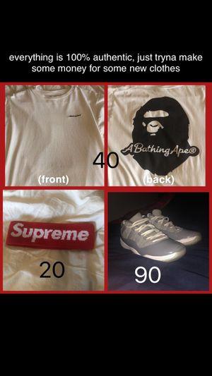 Supreme Headband, Bape Patch Tee, Jordan 11 Cool Grey Lows for Sale in Goodyear, AZ