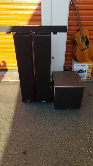 "Polk sudio speakers and subwoofer 15"" and rca console center speaker for Sale in Seattle, WA"