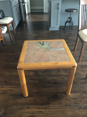 Coffe table - side table - sofa table with slate tops and teak wood. for Sale in Nolensville, TN