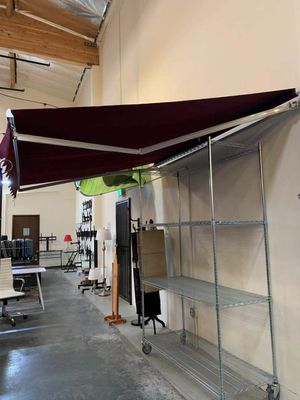 New in box Manual Patio 10 feet wide × 8' Retractable Sunshade Awning deck cover sun block canopy shade burgundy red toldo for Sale in La Mirada, CA