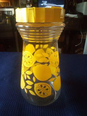 Vintage Yellow Lemon Citrus Slice Juice Pitcher with Lid - 1 Quart 1 Liter Lemonade Carafe for Sale in Wakeman, OH