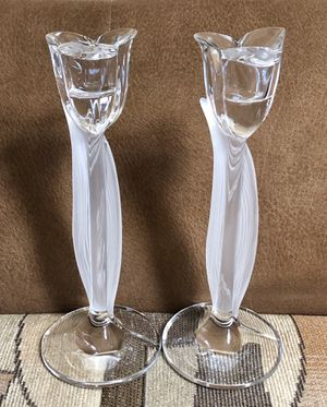 Set of 2 Glass Flower Shaped Candlesticks - Excellent Condition! for Sale in New York, NY