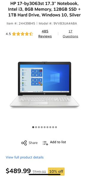 """HP17- by3064st 17.3"""" notebook for Sale in Charlotte, NC"""