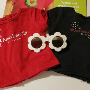 Two AG Tshirts, 1 Book, Sunglasses For Dolls for Sale in Westchester, IL