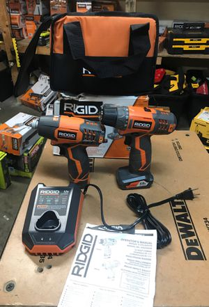 RIDGID 12-Volt Lithium-Ion Cordless Drill/Driver and Impact Driver Combo Kit with 2-Batteries, Charger and Bag for Sale in Fontana, CA