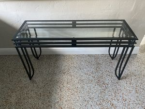 "Hallway entrance foyer Sofa console tv dining table kitchen glass black metal plant stand desk 16"" deep, 4' wide, 26.5 tall indoor outdoor for Sale in Wilton Manors, FL"