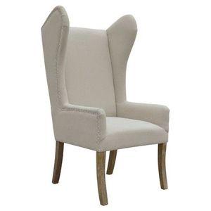 Set of Beige Linen Reclaimed Oak Wingback Arm Chairs for Sale in Newport Beach, CA