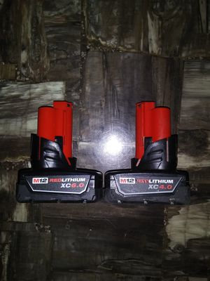 Milwaukee m12 brand new 6.0 and used 4.0 batteries for Sale in Garner, NC