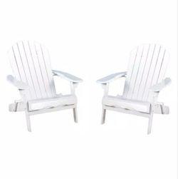 Noble House Obadiah White Folding Wood Adirondack Chair (2-Pack) for Sale in Umatilla,  FL