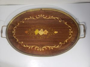 Italian Inlaid Wood Serving Tray with Brass Handles for Sale in Orlando, FL