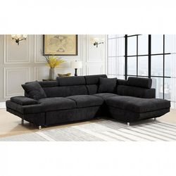 BLACK SECTIONAL ADJUSTABLE SLEEPER BED SOFA COUCH - SILLON SECCIONAL NEGRO for Sale in San Diego,  CA