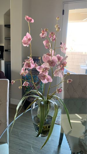 Vase with fake orchid and water for Sale in Fresno, CA