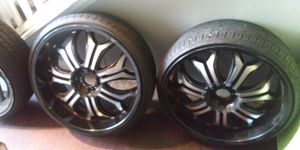 22in' Godfather rims...Black n machined. for Sale in College Park, GA