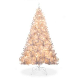 New 6ft Pre-Lit Hinged Artificial Pine Christmas Tree w/250 Lights, Stand, White for Sale in Columbus, OH