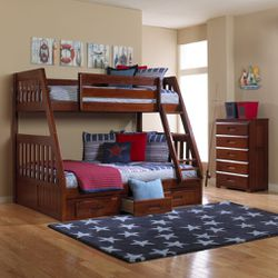 Bunk bed twin over full Merlot color with three drawers or a trundle bed for Sale in Fairburn,  GA
