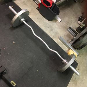 Olympic Curl Bar With 2 35s for Sale in San Diego, CA