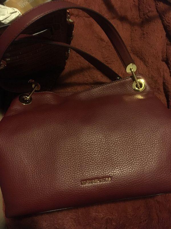 Oxblood large shoulder tote leather bag with wallet