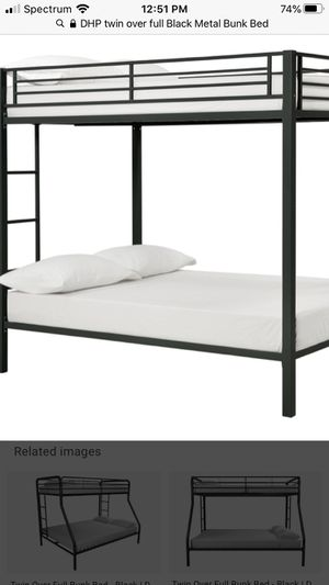 DHP Full Over Full Metal Bunk Bed, Sturdy Frame with Metal Slats, Black for Sale in St. Louis, MO