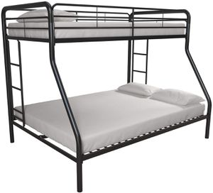 DHP Twin-Over-Full Bunk Bed with Metal Frame and Ladder, Space-Saving Design, Black for Sale in Rio Linda, CA