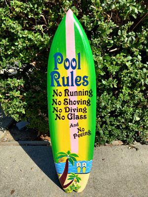 Large Pool Rules Tiki Surfboard for Sale in Roseville, CA