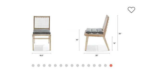 Wooden lounge chair with white string back support and seating 135 each sold as a pair