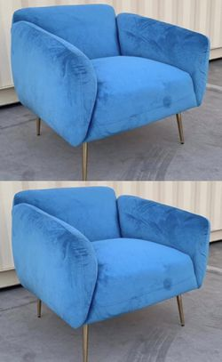 NEW $170 for 2 Velvet 33x32x31 Inch Tall Sofa Chair Light Blue Thick Cushion with Steel Gold Color Legs living room bedroom furniture for Sale in Los Angeles,  CA